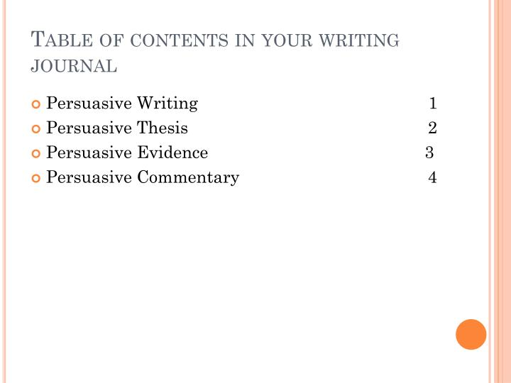 Table of contents in your writing journal