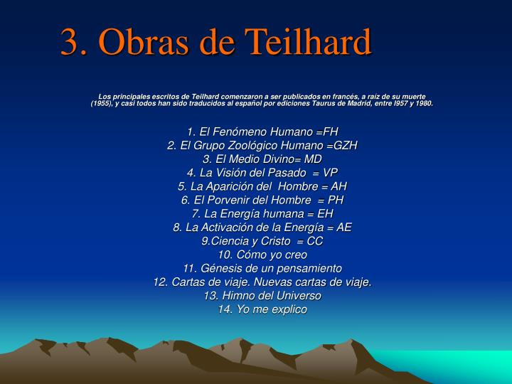 3. Obras de Teilhard