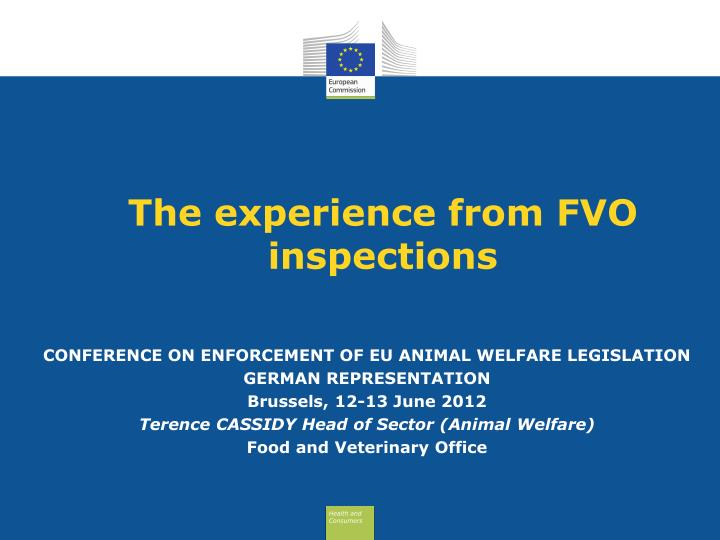 the experience from fvo inspections n.