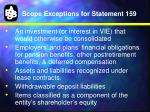 scope exceptions for statement 159