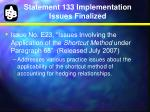 statement 133 implementation issues finalized