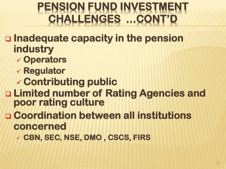 Inadequate capacity in the pension industry