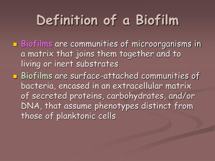 Definition of a biofilm