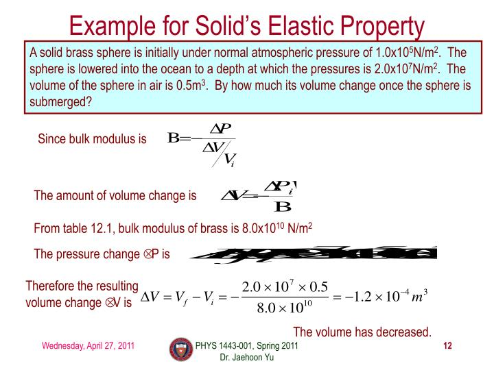 Example for Solid's Elastic Property