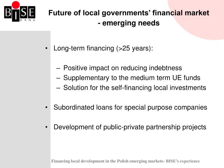 Future of local governments' financial market