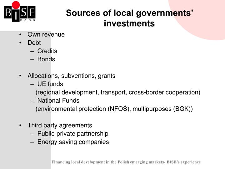 Sources of local governments' investments