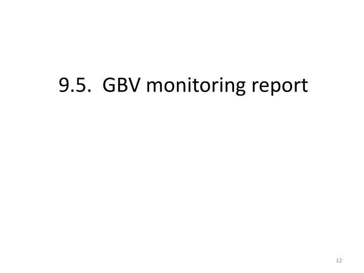 9.5.  GBV monitoring report