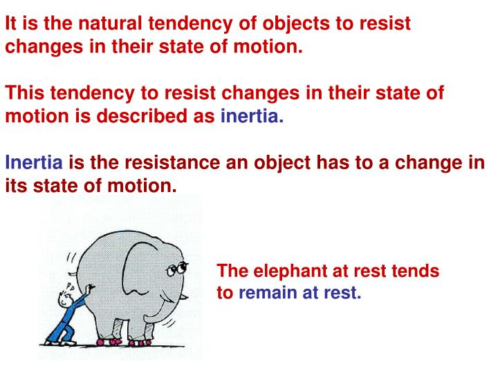 It is the natural tendency of objects to resist changes in their state of motion.
