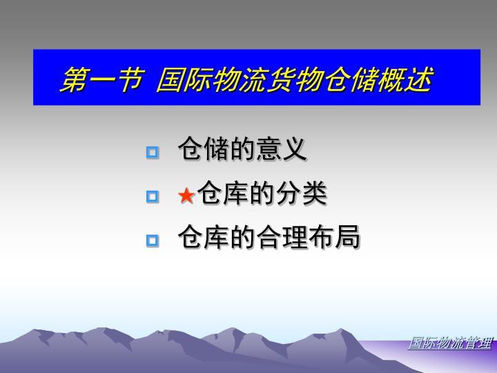 第一节 国际物流货物仓储概述