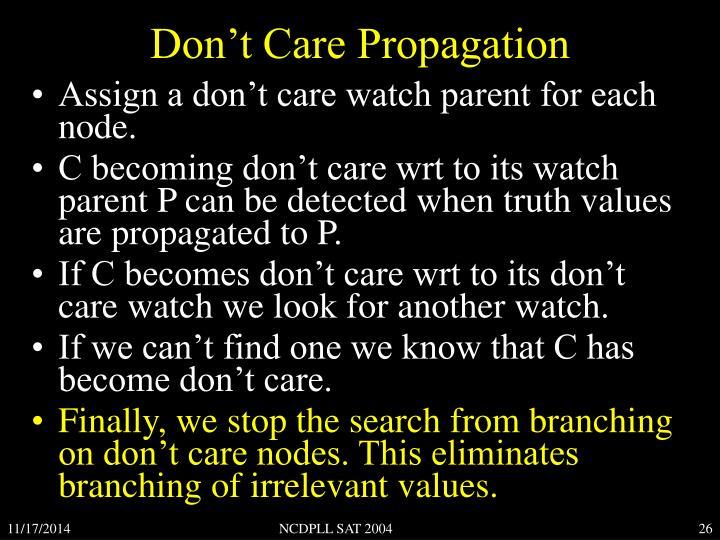 Don't Care Propagation