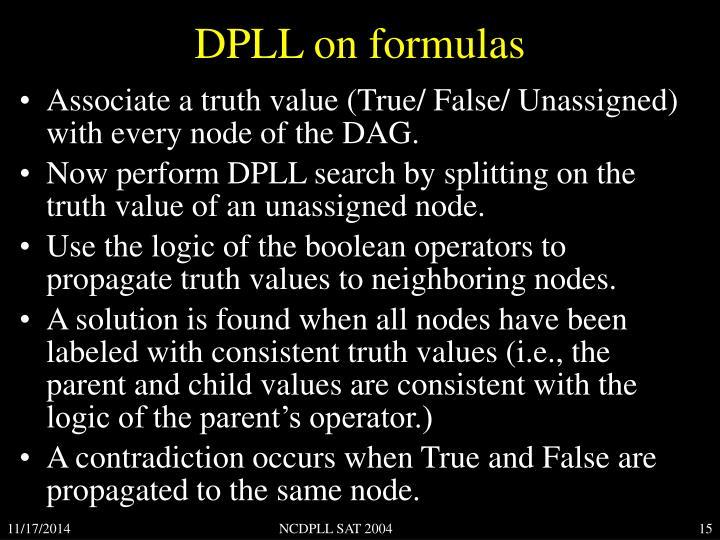 DPLL on formulas