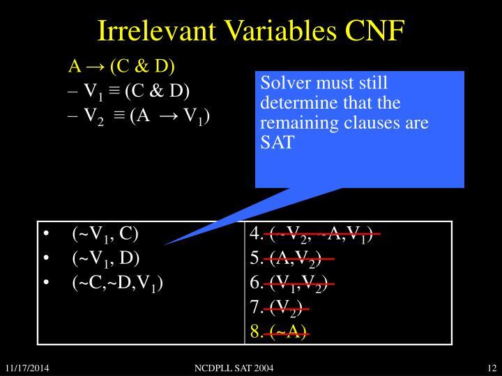 Irrelevant Variables CNF