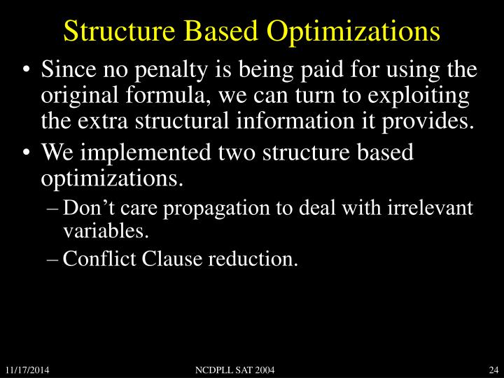 Structure Based Optimizations