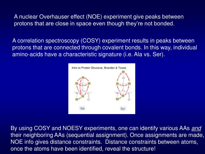 A nuclear Overhauser effect (NOE) experiment give peaks between