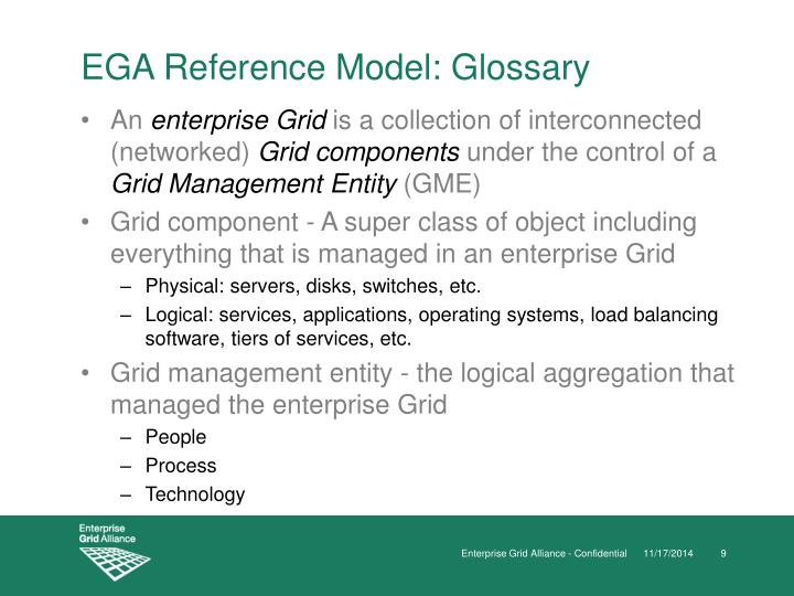 EGA Reference Model: Glossary