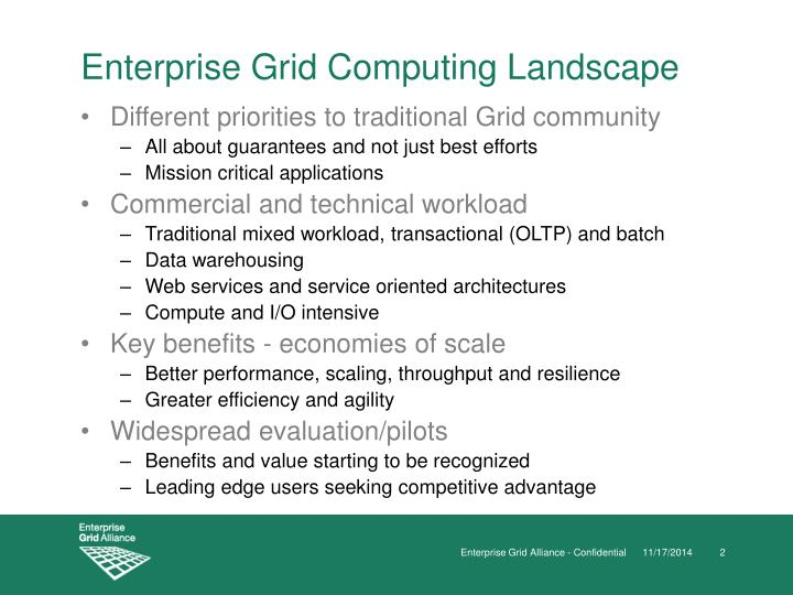 Enterprise Grid Computing Landscape