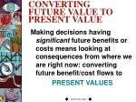 converting future value to present value
