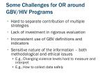 some challenges for or around gbv hiv programs