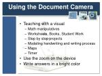 using the document camera
