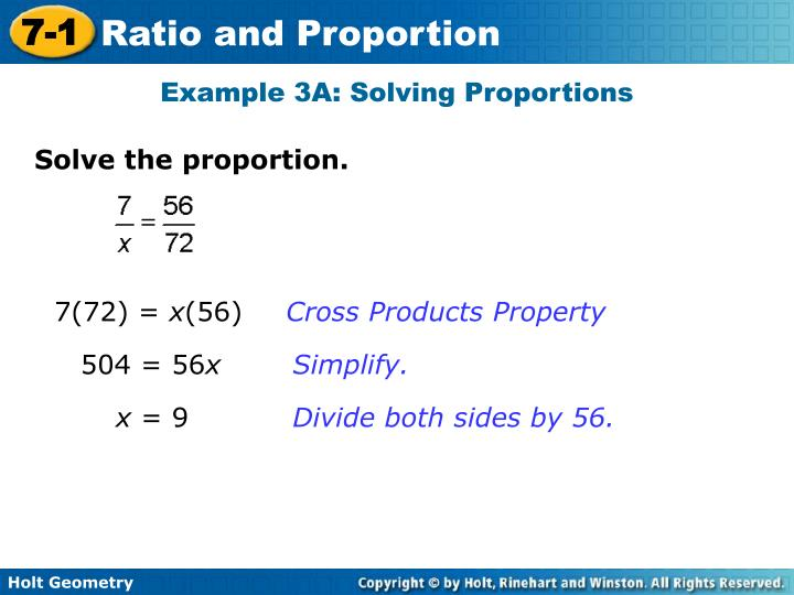 Example 3A: Solving Proportions