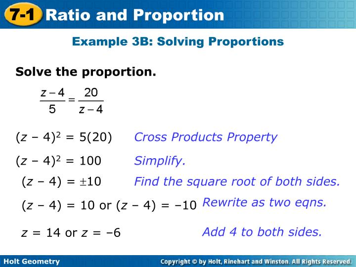 Example 3B: Solving Proportions