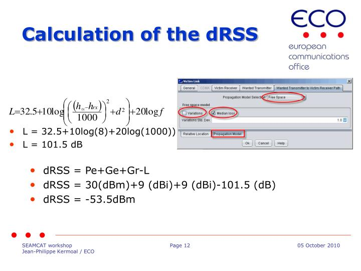 Calculation of the dRSS
