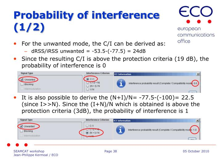 Probability of interference (1/2)