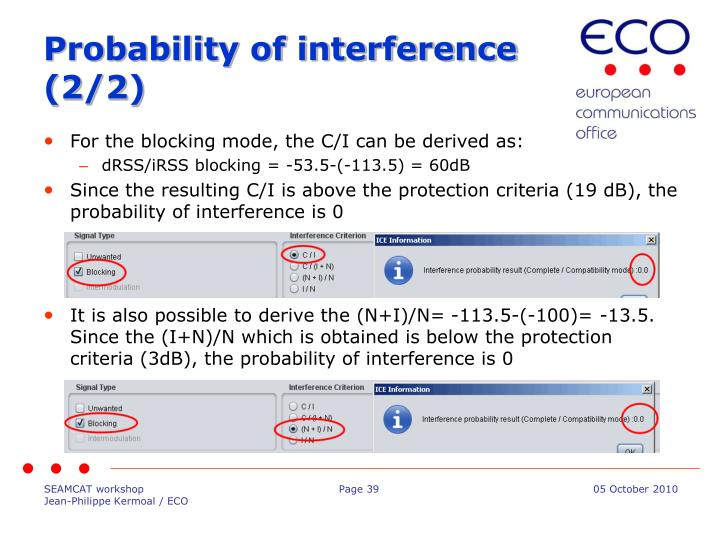 Probability of interference (2/2)
