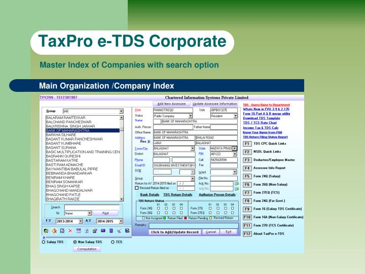 Taxpro e tds corporate