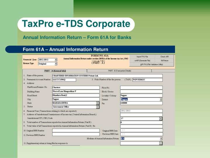 TaxPro e-TDS Corporate