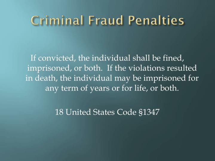 Criminal Fraud Penalties