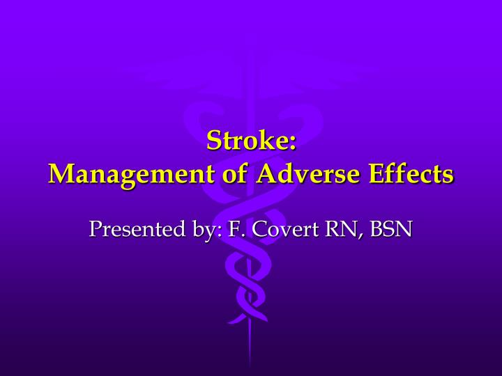 stroke management of adverse effects n.