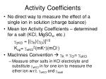 activity coefficients