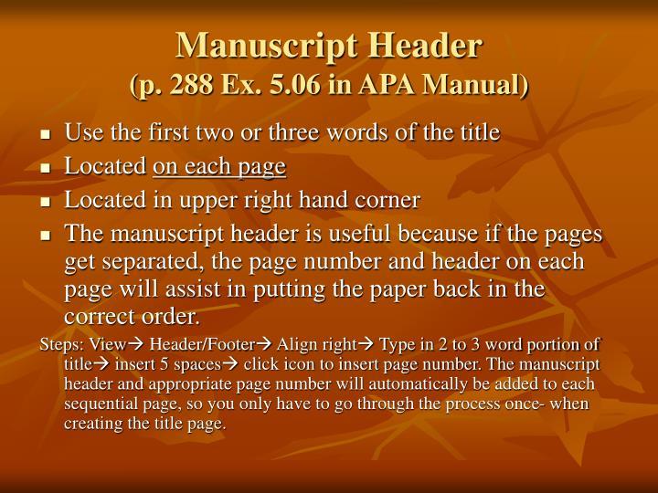 Manuscript Header