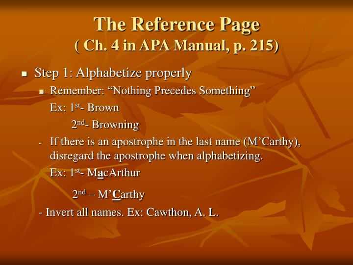 The Reference Page
