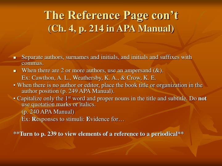 The Reference Page con't