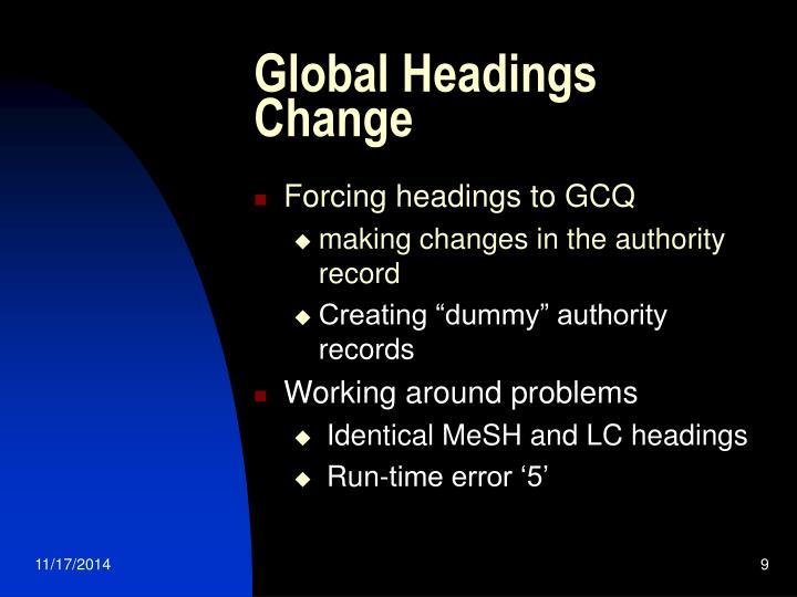 Global Headings Change