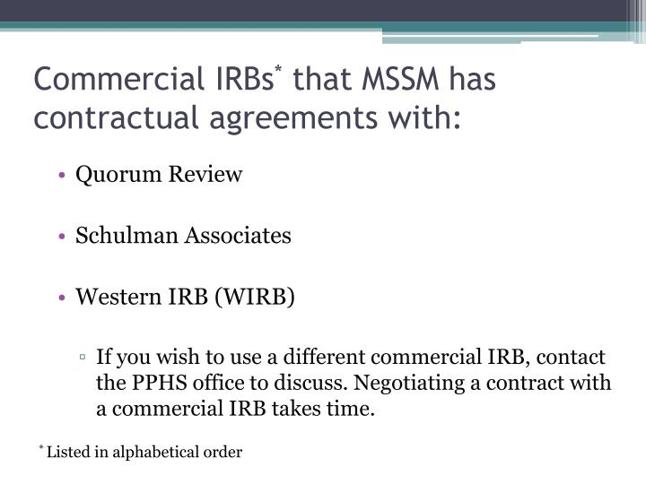 Commercial irbs that mssm has contractual agreements with