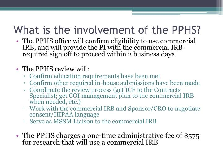 What is the involvement of the PPHS?