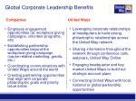 global corporate leadership benefits