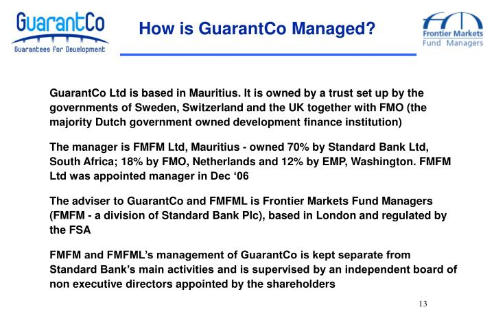 How is GuarantCo Managed?