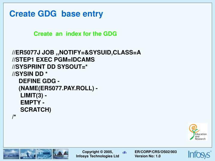 Create GDG  base entry