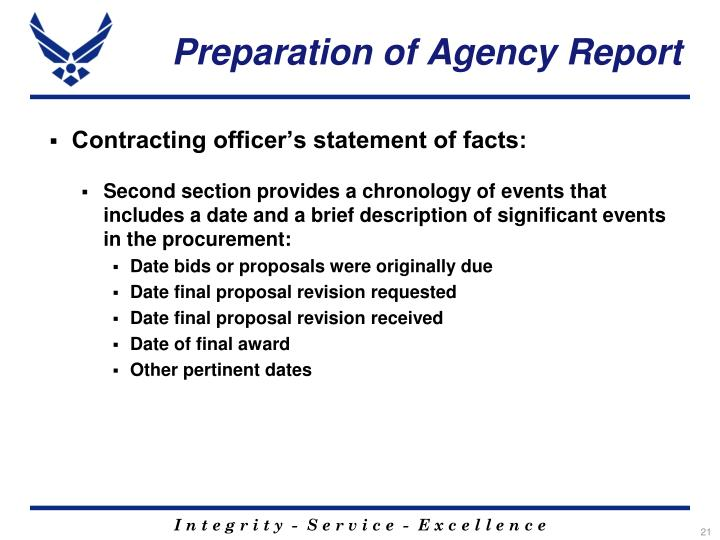 Preparation of Agency Report