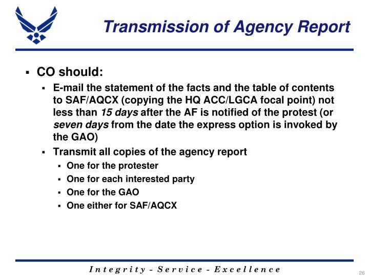 Transmission of Agency Report