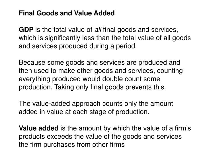 Final Goods and Value Added