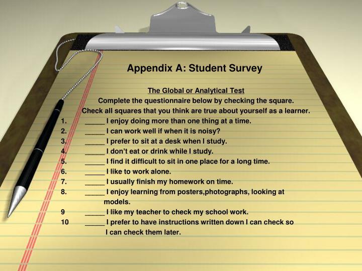 Appendix A: Student Survey
