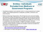 entities individuals excluded from medicare or government programs