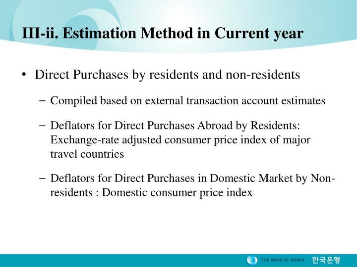 III-ii. Estimation Method in Current year