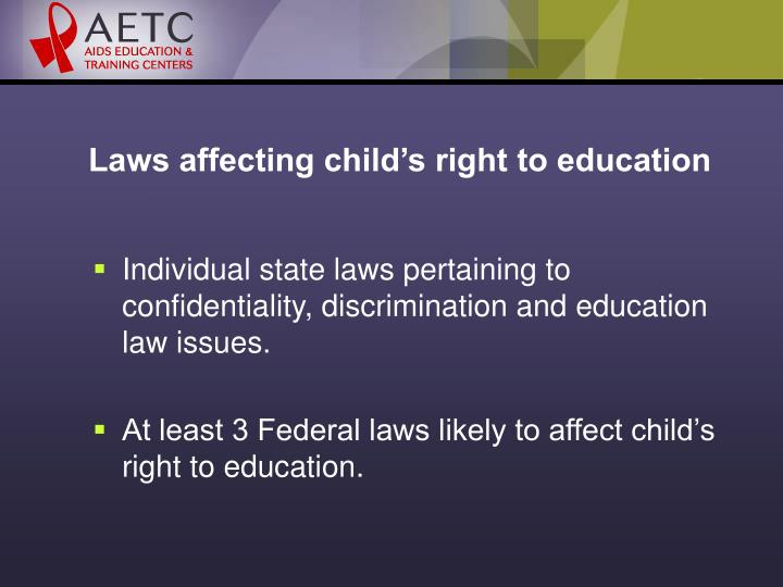 Laws affecting child's right to education