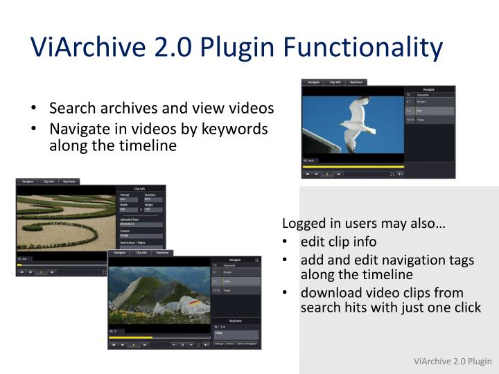 ViArchive 2.0 Plugin Functionality
